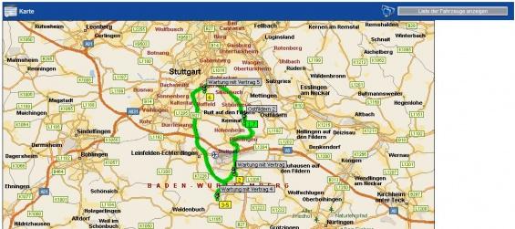 Opti-Time RMS- Übersicht der Touren in der Karte